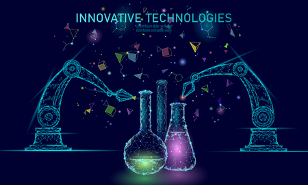 Low poly chemical synthesis science concept. Polygon lab chemistry material production reactor. Modern innovation compound technology product laboratory robotic ai vector illustration