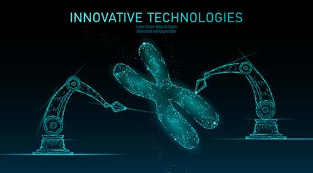 Chromosome DNA structure medicine concept. Low poly polygonal triangle gene therapy cure genetic disease. GMO engineering CRISPR Cas9 innovation modern technology science banner vector illustration Vektoros illusztráció