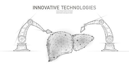 Robotic liver surgery low poly. Polygonal hepatitis surgery procedure. Robot arm manipulator. Modern innovative medicine science automation technology. Triangle 3D render shape vector illustration