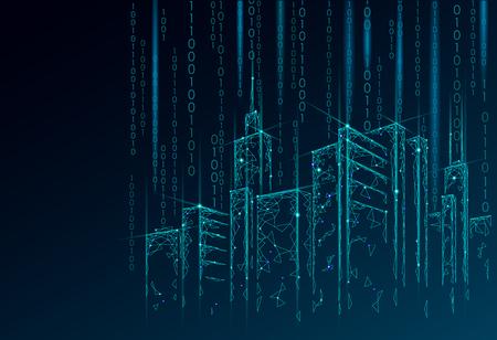 Malla de alambre 3D de ciudad inteligente de baja poli. Concepto de negocio de sistema de automatización de edificios inteligente. Flujo de datos del número de código binario. Arte de la ilustración del vector de la bandera del bosquejo de la tecnología del paisaje urbano de la arquitectura