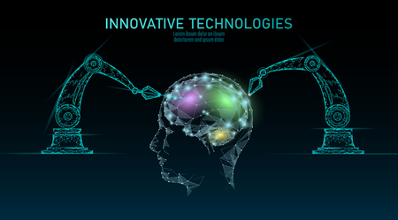Low poly robot android brain machine learning. Innovation technology artificial intelligence human cyborg smart data. Virtual reality digital danger warning polygonal business technology concept.