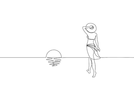 Continuous one single line art girl walking on sand beach concept. Beautiful woman sunset tropical holiday travel seashore hand drawn sketch. Beauty young lady horizont white vector illustration art Çizim
