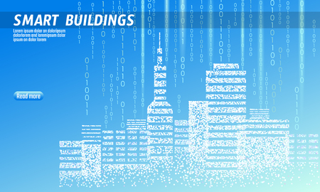 Smart city 3D spotted dots. Intelligent building automation system business concept. Web online computer binary code. Architecture urban cityscape technology sketch banner vector illustration art