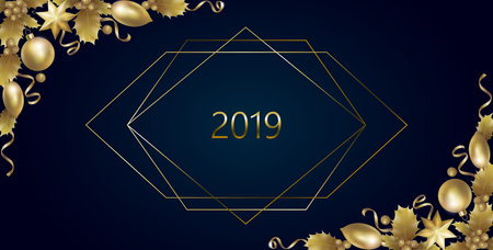 Realistic New Year golden banner greeting card. Holly berry gold corner. Vintage winter 2019 holiday decoration design element template 3d render mesh gold party invitation vector illustration art Stock Illustratie