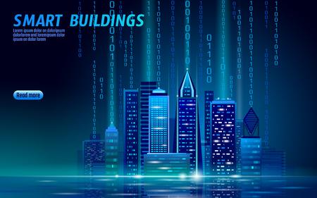 Ciudad inteligente de neón 3D brillante paisaje urbano. Concepto de negocio futurista noche de automatización de edificios inteligente. Tecnología futura de color azul en línea web. Arte urbano de la ilustración del vector de la bandera