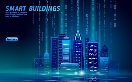 Smart city 3D neon glowing cityscape. Intelligent building automation night futuristic business concept. Web online blue color future technology. Urban banner vector illustration art