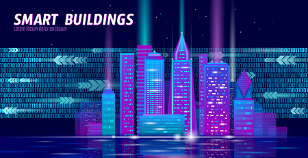 Smart city 3D neon glowing cityscape. Intelligent building automation night futuristic business concept. Web online vivid color cyberpunk retrowave. Urban technology banner vector illustration art 向量圖像