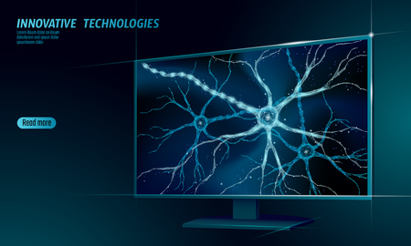Human neuron low poly anatomy concept. Artificial neural network technology smart house display cloud computing. AI 3D abstract biology system. Polygonal blue glowing vector illustration art Vector Illustration