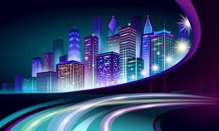 Smart city 3D neon glowing cityscape. Intelligent building automation night futuristic business concept. Web online vivid color cyberpunk retrowave. Urban technology banner vector illustration art Vetores