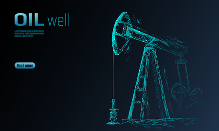 Ölbohrinsel Juck Low-Poly-Geschäftskonzept. Finanzwirtschaft polygonale Benzinproduktion. Petroleum Fuel Industry Pumpjack Derricks pumpen Bohrpunktlinie Verbindungspunkte blaue Vektorillustration