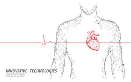 Il cuore sano della siluetta dell'uomo batte il modello di medicina 3d low poly. Medico online del punto di incandescenza dei punti collegati a triangolo. La tecnologia innovativa moderna del corpo interno di impulso rende l'illustrazione vettoriale Vettoriali