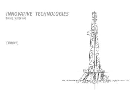 Onshore Oil Gas Drilling Rig. Raw material economy finance business concept. Petroleum industrial well machine ecology. Low poly glowing night silhouette 3D render polygonal vector illustration art