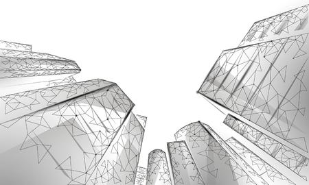Bâtiments en verre modernes d'affaires polygonales à faible angle. Les gratte-ciel de grande hauteur atteignent le paysage de la ville du ciel. Finance concept de bureau futuriste bancaire. Gigantesque maison intelligente à partir de l'illustration vectorielle ci-dessous