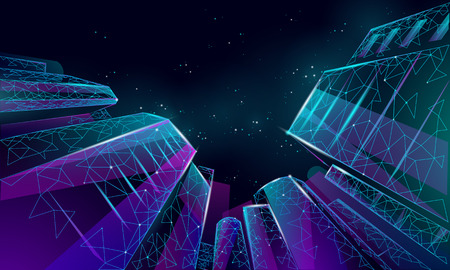 Polygonal low angle business modern glass buildings. Skyscrapers high rise reach sky city scenery. Finance banking futuristic office concept. Starry dark night sky from below vector illustration