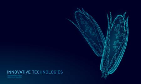 GMO corn gene modified plant. Science chemistry biology genetics engineering innovation organic eco food technology 3D render geometric background template. banner vector illustration