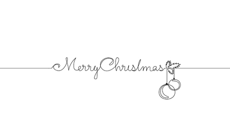 Merry Christmas single continuous line art. Holiday greeting card decoration christmas tree ball lettering silhouette concept design one sketch outline drawing vector illustration  イラスト・ベクター素材