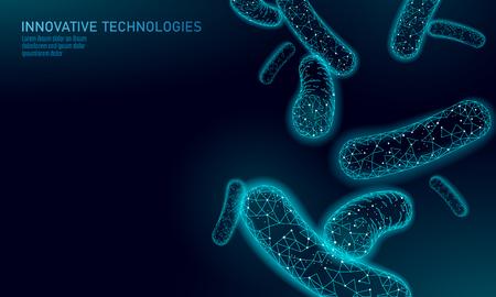 Bacterias 3D low poly render probióticos. Flora de digestión normal sana de la producción de yogur en el intestino humano. Arte moderno del ejemplo del vector del arte de la inmunidad de la alergia de la medicina de la tecnología de la ciencia Ilustración de vector