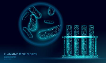 Bakterie probówkowe 3D low poly renderują probiotyki. Analiza laboratoryjna mikroorganizmów. Zdrowa flora ludzkiego ciała. Nowoczesna nauka technologia medycyna odporność na alergię ilustracja wektorowa teatru
