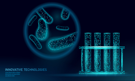 Test tube bacteria 3D low poly render probiotics. Laboratory analysis microorganism. Healthy flora of human body. Modern science technology medicine allergy immunity thearment vector illustration