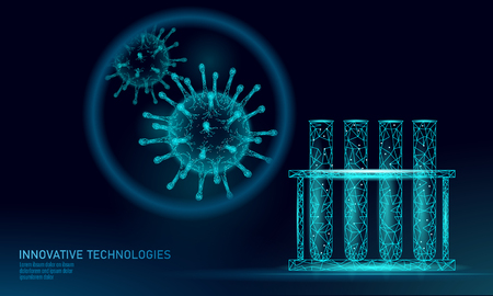 Test tube virus 3D low poly render. Laboratory analysis infection chronic disease Hepatitis virus influenza flu infect organism, aids. Modern science technology medicine vector illustration Stock Illustratie