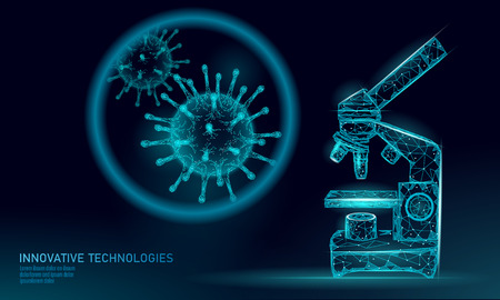 Microscope virus 3D low poly render. Laboratory analysis infection chronic disease Hepatitis virus influenza flu infect organism, aids. Modern science technology medicine thearment vector illustration art