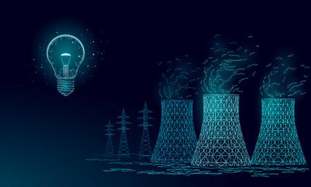 Torre de enfriamiento de la central nuclear de baja poli. 3d rinden la contaminación de la ecología salvar el concepto del medio ambiente del planeta triángulo poligonal. Ilustración de vector de electricidad de reactor nuclear radiactivo Ilustración de vector