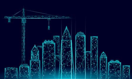 Low-Poly-Gebäude im Baukran. Industrielle moderne Geschäftstechnologie. Abstrakte polygonale geometrische 3D-Stadtbild städtische Silhouette. Hohe Wolkenkratzer Nacht blauer Himmel Vektor-Illustration
