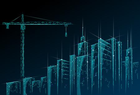 Bâtiment low poly en construction grue. Technologie d'entreprise moderne industrielle. Silhouette urbaine abstraite polygonale géométrique 3D paysage urbain. Illustration vectorielle de gratte-ciel nuit ciel bleu Vecteurs