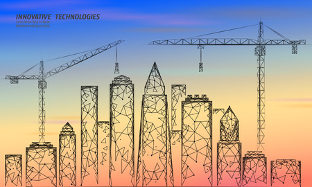 Low poly building under construction crane sunrise. Industrial modern business technology. Colorful sunset sky 3D cityscape urban silhouette. High tower skyscraper vector illustration art