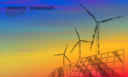 Solar panels windmills turbine generating electricity. Green ecology saving environment. Renewable power low poly polygonal geometric colorful sunset red orange blue sky design vector illustration art