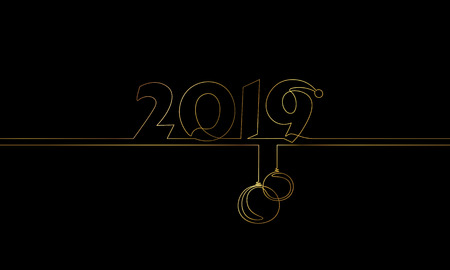 2019 New Year single continuous line art. Golden black holiday greeting card headline decoration date numbers lettering silhouette concept design one sketch outline glowing gold vector illustration art Stock Illustratie