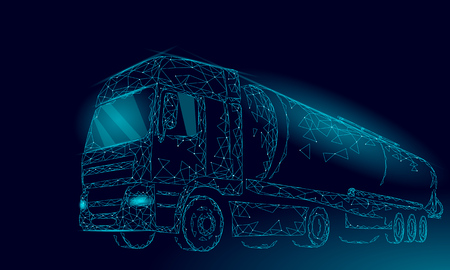 Oil truck highway cistern 3D render low poly. Fuel petroleum finance industry diesel tank. Cylinder vehicle big cargo gasoline logistic economical business polygonal line vector illustration art
