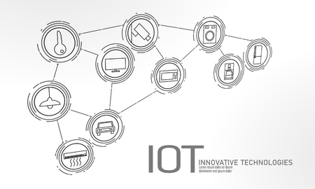 Internet of things icon innovation technology concept. Smart city wireless communication network IOT ICT. Home intelligent system automation Industry 4.0 AI computer online vector illustration Stock Illustratie
