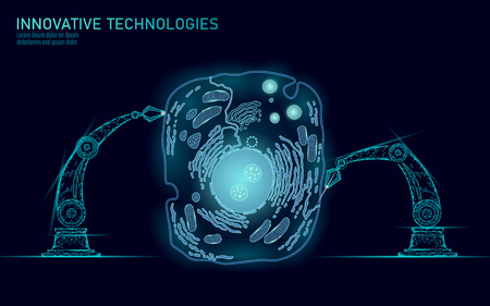 Artificial cell synthesys gene therapy DNA 3D chemical. Animal cell biochemistry engineering research concept. Biorobot robotic arm industry vector illustration future business technology art