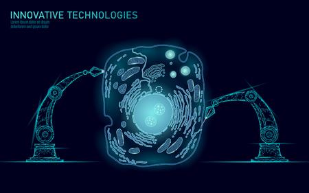 Synthèse cellulaire artificielle thérapie génique ADN chimique 3D. Concept de recherche en génie biochimique des cellules animales. Biorobot bras robotique industrie vector illustration futur business technologie art