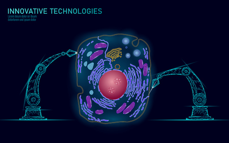 Artificial cell synthesys gene therapy DNA 3D chemical. Animal cell biochemistry engineering research concept. Biorobot robotic arm industry vector illustration future business technology art Stock Illustratie
