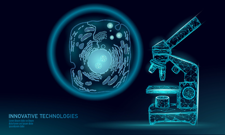 Microscope artificial cell synthesis animal human designer cell biochemistry. Engineering GMO research concept. Macro close zoom future education technology vector illustration eukaryotic art Stock Illustratie