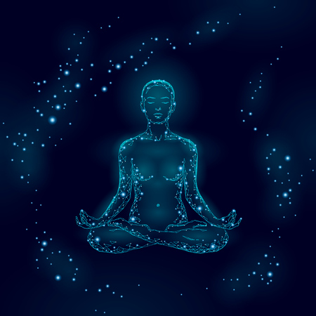 Donna di pratica di yoga nella siluetta di poli basso di posizione del loto. Classe di benessere esercizio di rilassamento yoga poligonale. Punti chakra notte blu scuro. Buddismo esoterico energia Kundalini illustrazione vettoriale Vettoriali