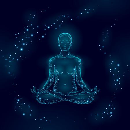 Femme de pratique de yoga en silhouette poly basse position lotus. Cours de bien-être d'exercice de relaxation yoga polygonal. Points de chakra de nuit bleu foncé. Bouddhisme ésotérique Kundalini énergie vector illustration Vecteurs