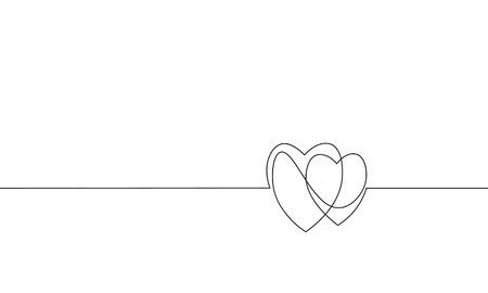 Zwei Herzen lieben romantische einzelne durchgehende Strichzeichnungen. Herzschlag Leidenschaft Datum Beziehung Paar Silhouette Konzept Design eine Skizze Umrisszeichnung weiße Vektor-Illustration Vektorgrafik