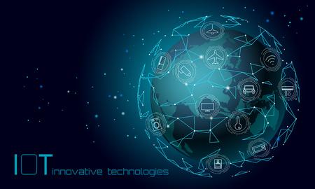 Planeta Tierra Asia continente internet de las cosas concepto de tecnología de innovación. Red de comunicación inalámbrica IOT ICT. Ilustración de vector en línea de computadora AI moderna de automatización de sistema inteligente