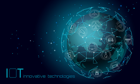 Planet Earth Asia continent internet of things innovation technology concept. Wireless communication network IOT ICT. Intelligent system automation modern AI computer online vector illustration Illustration