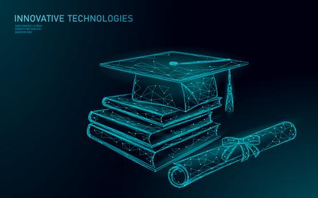 E-learning distant graduate certificate program concept. Low poly 3D render graduation cap, books, diploma polygonal modern design banner template. Internet education course vector illustration Vektoros illusztráció