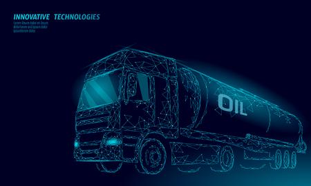 Citerne d'autoroute de camion de pétrole rendu 3D low poly. Réservoir de diesel de l'industrie de la finance pétrolière. Cylindre véhicule gros fret essence logistique entreprise économique ligne polygonale vector illustration art