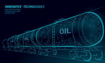 Oil railway cistern 3D render low poly. Fuel petroleum finance industry diesel tank. Cylinder railroad wagon train gasoline logistic economical business polygonal line vector illustration art