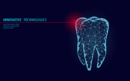 3d tooth innovation laser dentistry polygonal concept. Stomatology symbol low poly triangle abstract oral dental medical care business. Connected dot particle modern render blue vector illustration Çizim