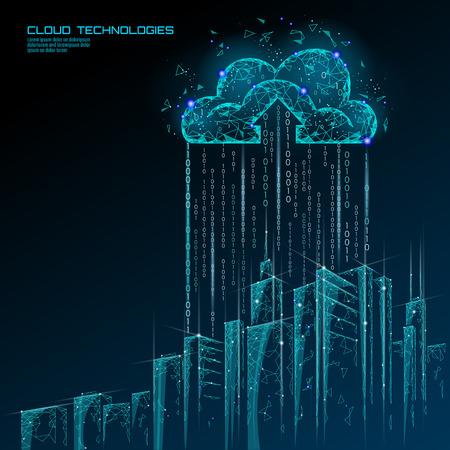 Ciudad inteligente 3D luz paisaje urbano de computación en la nube. Edificio inteligente, almacenamiento de intercambio de datos grandes, concepto de negocio futurista en línea, tecnología futura. Arte urbano de la ilustración del vector de la bandera