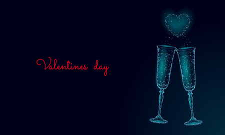 Two glasses of champagne with sparkles. Low poly polygonal blue glowing toasting romantic love date. Heart shape tender dating chin-chin couple Valentine day vector illustration art Vectores