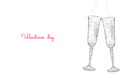 Two glasses of champagne with sparkles. Low poly polygonal white 3D toasting romantic love date. Heart shape tender dating chin-chin couple Valentine day vector illustration art