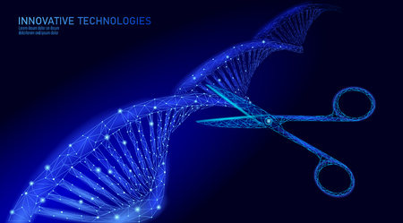 DNA 3D-structuur bewerken geneeskunde concept. Lage poly veelhoekige driehoek gentherapie geneest genetische ziekte. GGO-engineering CRISPR Cas9 innovatie moderne technologie wetenschap banner vectorillustratie Vector Illustratie